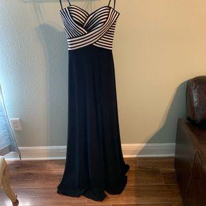 La Femme Black & White Evening Gown w/ Front Slit